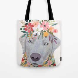 Silver Labrador with Flowers Tote Bag
