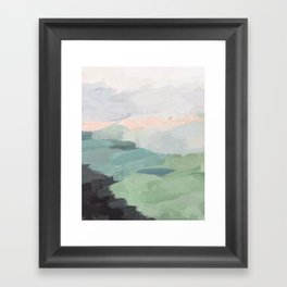 Seafoam Green Mint Black Blush Pink Abstract Nature Land Art Painting Framed Art Print