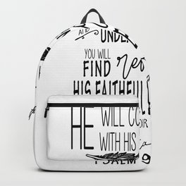 Psalm 91:4 Christian Bible Verse Typography Design Backpack