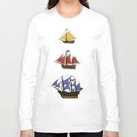 pirate ship Long Sleeve T-shirts featuring Pirate Ship Convoy by Scottdoesart
