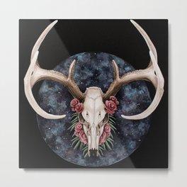 Floral Deer Skull Nebula Metal Print