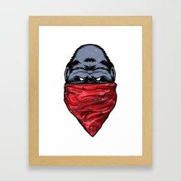 Gorilla Gangster Ape wearing a Red Bandanna Framed Art Print