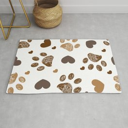 Doodle brown paw prints with hearts seamless fabric design pattern Rug