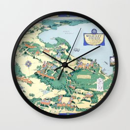 WELLESLEY College map MASSACHUSETTS dorm decor graduate Wall Clock