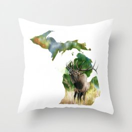 Michigan Elk Throw Pillow