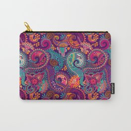 Purple Orange & Teal Floral Paisley Carry-All Pouch