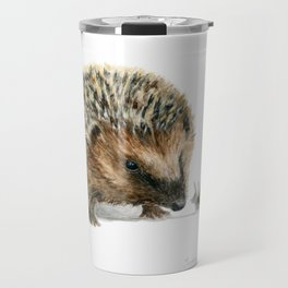 """Close Encounter"" painting of a Hedgehog and Snail by Teresa Thompson Travel Mug"