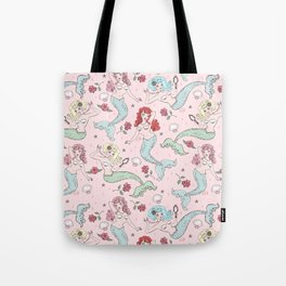 Mermaids and Roses on Pink Tote Bag