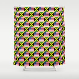Mix of flag: Usa and jamaica Shower Curtain
