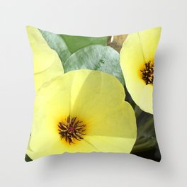 Water Flowers Throw Pillow
