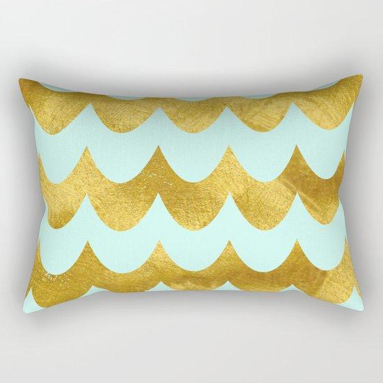 Mint Gold Foil 04 Rectangular Pillow