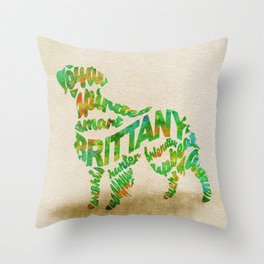 Brittany Spaniel Typography Art / Watercolor Painting Throw Pillow