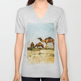 Camels in the Desert Unisex V-Neck