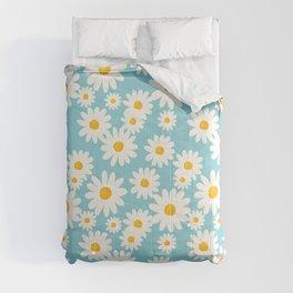 White Daisies Heaven Blue Comforters