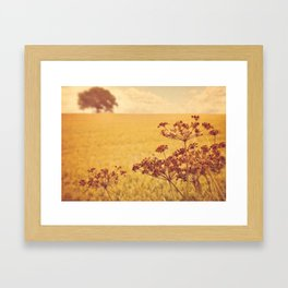 By the side of the wheat field. Framed Art Print
