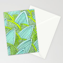 Sea of Leaves - Blue and Green Leaf pattern Stationery Cards