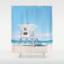 Lifeguard tower Carlsbad 35 Shower Curtain