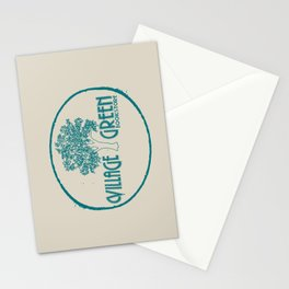 Village Green Bookstore Green on Tan Stationery Cards