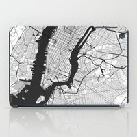 new york map iPad Cases featuring New York Map Gray by City Art Posters