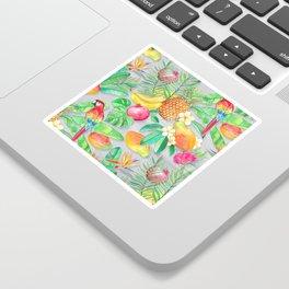 Tropical Paradise Fruit & Parrot Pattern Sticker