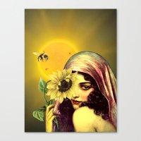 sunflower Canvas Prints featuring SUNFLOWER by Julia Lillard Art