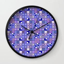 Mixed Oriental Tiles - Blue Violet Wall Clock