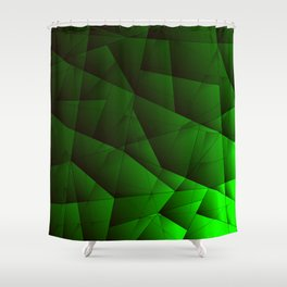 Bright contrasting green fragments of crystals on triangles of irregular shape. Shower Curtain
