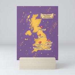 Map Of the Most Haunted Locations of the United Kingdom. Mini Art Print