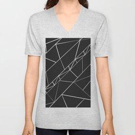 Hand drawn geometrical black white triangles Unisex V-Neck