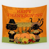 thanksgiving Wall Tapestries featuring Thanksgiving by BLOOP