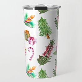 Christmas Pattern with Australian Native Bottlebrush Flowers Travel Mug