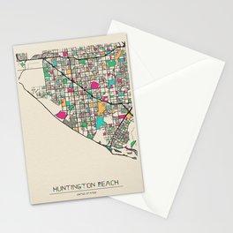 Colorful City Maps: Huntington Beach, California Stationery Cards