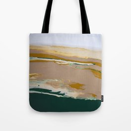 So Far Away Green Brown Neutral Marble Fluid Acrylic Painting Tote Bag