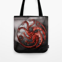 khaleesi Tote Bags featuring House Targaryen Stained Glass by itsamoose