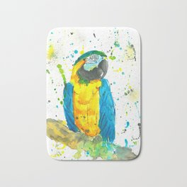 Blue & Gold Macaw - Watercolor Painting Bath Mat