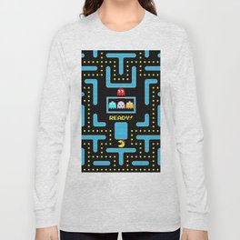 pac-man blue Long Sleeve T-shirt