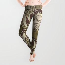 Art nouveau, neutral color pattern, floral design Leggings