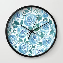 Pale blue roses . Watercolor . Wall Clock