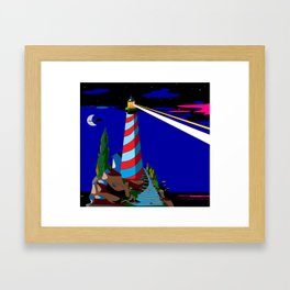 A Night at the Lighthouse with Search Light Active Framed Art Print