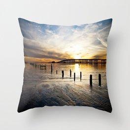 Biloxi Bay Sunset Throw Pillow