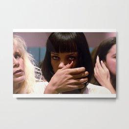 Pulp Fiction Movie Poster - Mia Wallace Print - Movie Bathroom Art, Cocaine, Digital Oil Painting, Home Art, Wall Art Metal Print