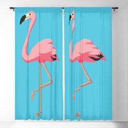 the Flamingo - vintage style illustration Blackout Curtain