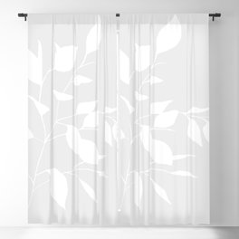 Grey & White Leaves Blackout Curtain