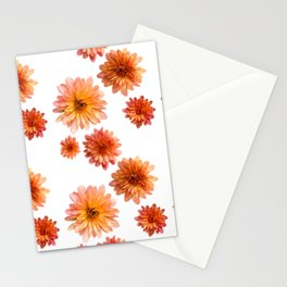 Coral Mum Floral Pattern - Scattered Flowers - Chrysanthemum Bloom Pattern - Real Flowers Stationery Cards