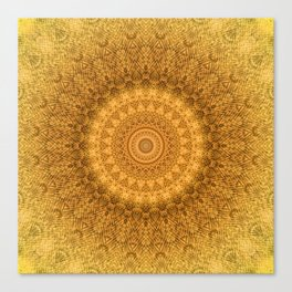 Sunflower Feather Bohemian Sun Ray Pattern \\ Aesthetic Vintage \\ Yellow Orange Color Scheme Canvas Print