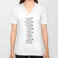 formula 1 V-neck T-shirts featuring Formula 1 Champions by Vehicle