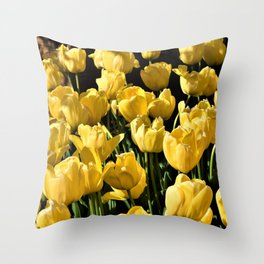 Lovely Yellow Tulips Throw Pillow