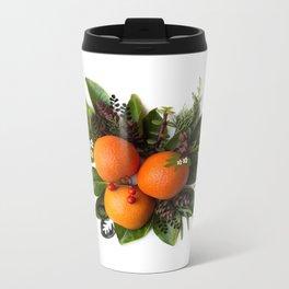 Oranges with Greenery Metal Travel Mug
