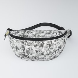 Alice in Wonderland   Toile de Jouy   Black and White Fanny Pack