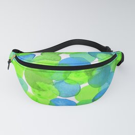 Watercolour Circles- Bright Green and Blue Fanny Pack